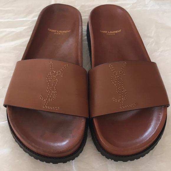 e75017e75457 Saint Laurent Jimmy logo slide sandals. M 5ae5e833a44dbe2143adef58